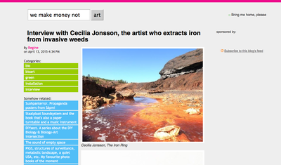Interview with Cecilia Jonsson, the artist who extracts iron from invasive weeds