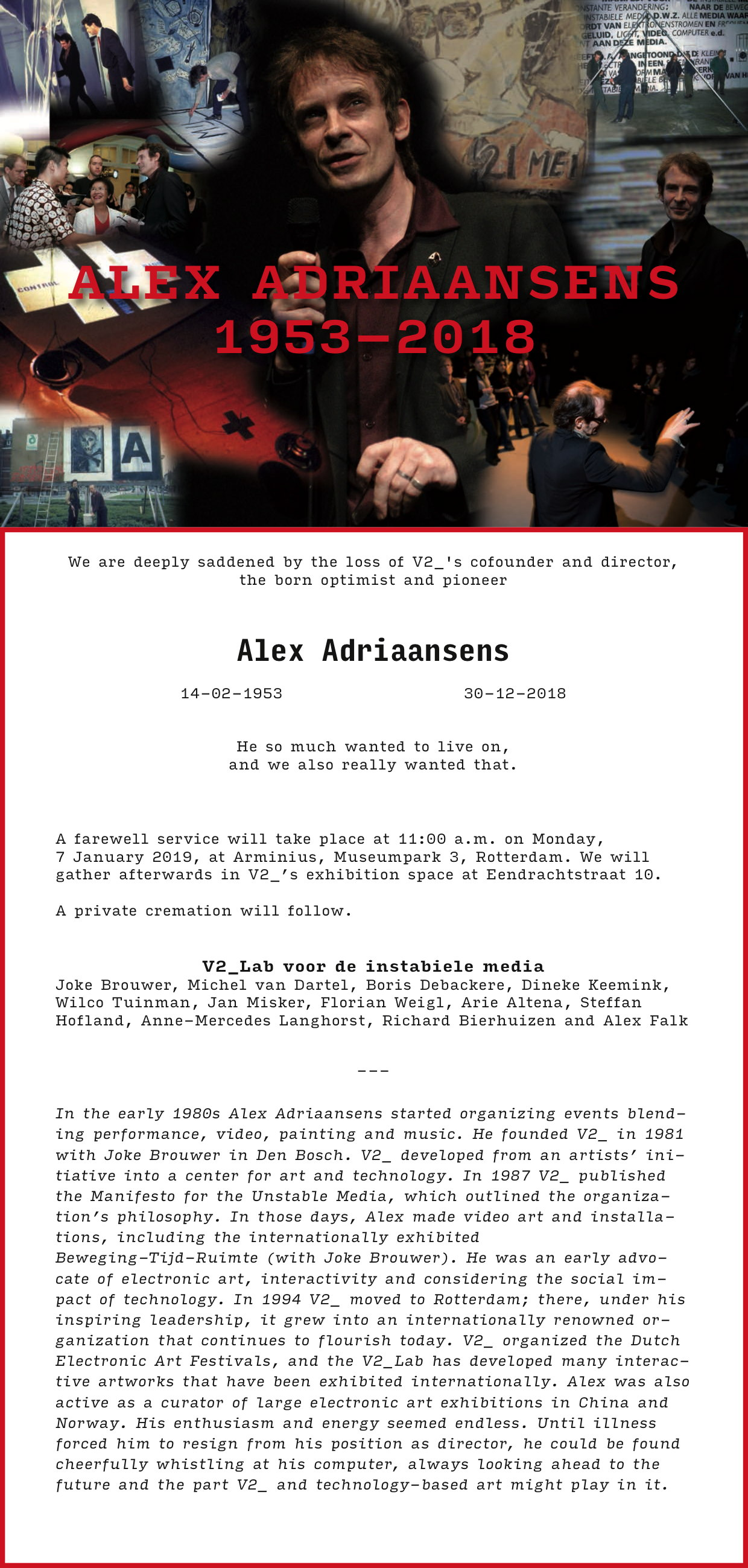 Invitation Alex Adriaansens 1953-2018