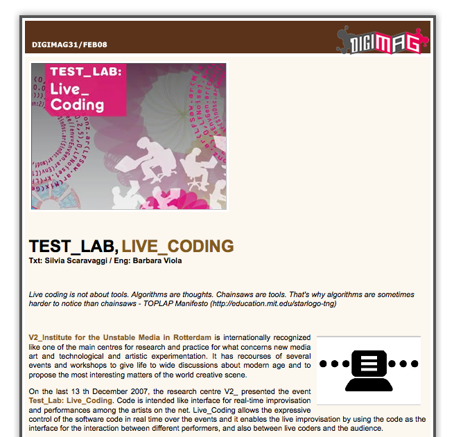 Live Coding at V2_ Test Lab, practices, ideas, and environments