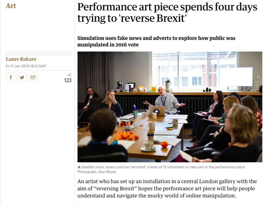 Performance art piece spends four days trying to reverse Brexit