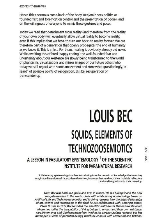 Squids, Elements of Technozoosemiotics