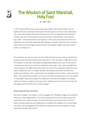 The Wis­dom of Saint Mar­shall, Holy Fool