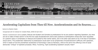 Accelerating Capitalism, Lecture by Stephen Zepke