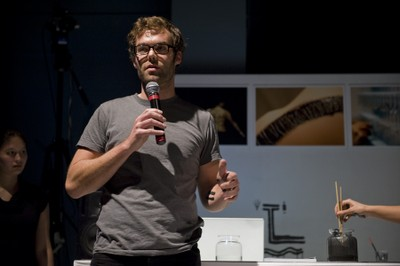 Matt presenting the Bare Skin Conductive Ink