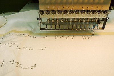 Embroidering conductive braille