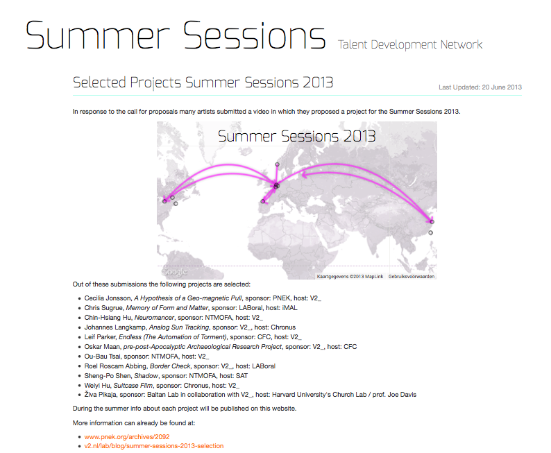 Summer Sessions 2013 selection
