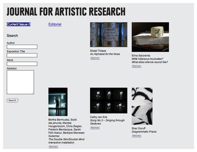 The inaugural issue of the Journal for Artistic Research (JAR)
